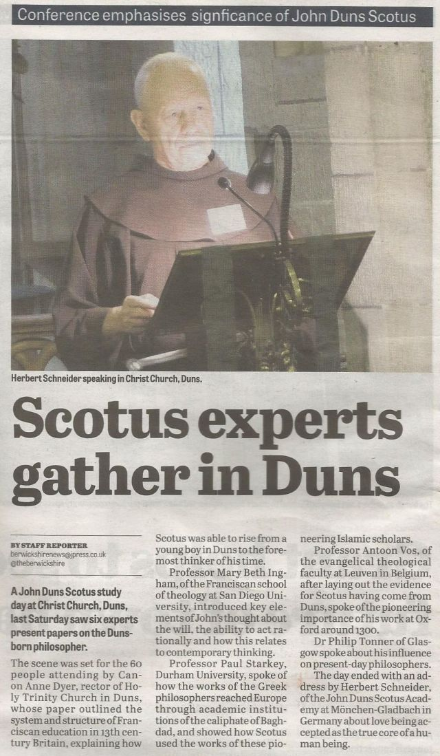Scotus experts gather in Duns